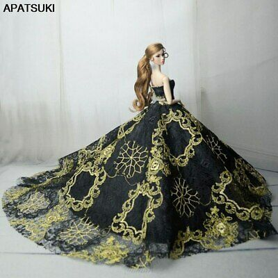 """Black Gold Embroidery Fashion Wedding Dress for 11.5"""" Doll Clothes Outfits 1/6"""