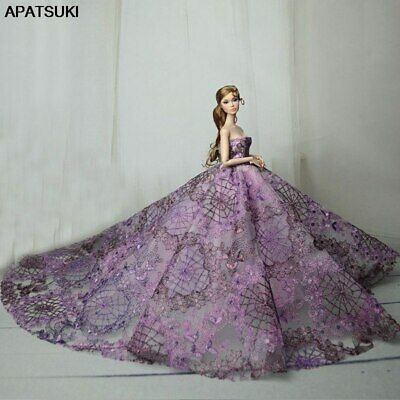 Purple High Fashion Wedding Dress for 11.5in. Doll Clothes Evening Dresses 1/6