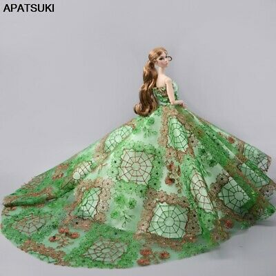 """Green High Fashion Wedding Dress for 11.5"""" Doll Clothes Evening Dresses Outfits"""