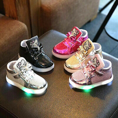 New Baby Toddler LED Girls Hello Kitty Light Up Luminous Running Shoes Sneakers
