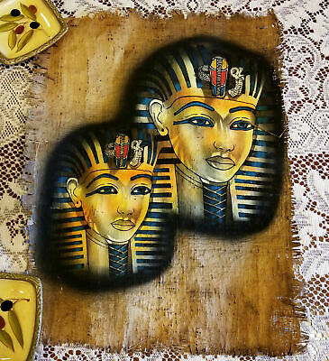 King Tut Egyptian Old Papyrus Paper Painting Hand Signed COA