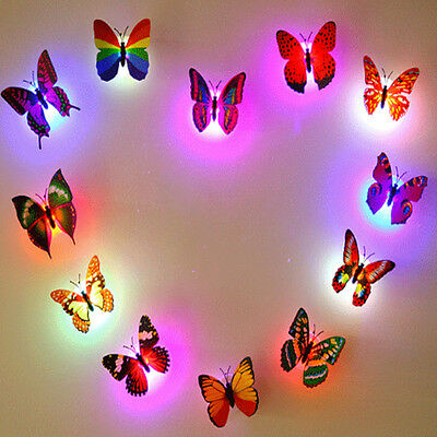 BUTTERFLY LED LIGHTS 3D Wall Stickers Home Bedroom Night ...