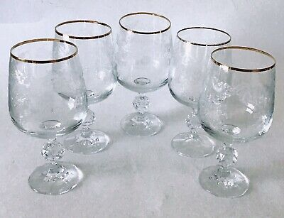 Cascade Gold Crystal Etched 10-oz Goblets Set of 5 Bohemia FREE SHIPPING