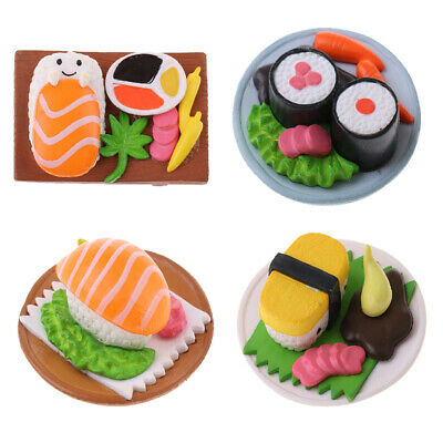 4PCS Dollhouse Kitchen Vivid Japanese Food Sushi in Plate Miniatures 1:12