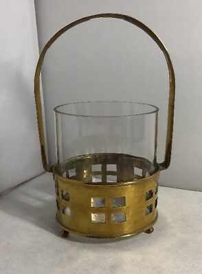 Vintage French Brass 1920s Arts & Crafts Caddy Holder Vase