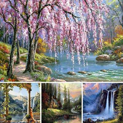 Landscape DIY Oil Painting By Numbers Kit Flameless Digital On Canvas WALL Decor