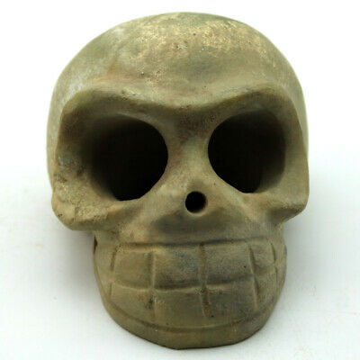 Ancient Chinese Hongshan Culture Old Jade Skull Amulet Statue 3.7""