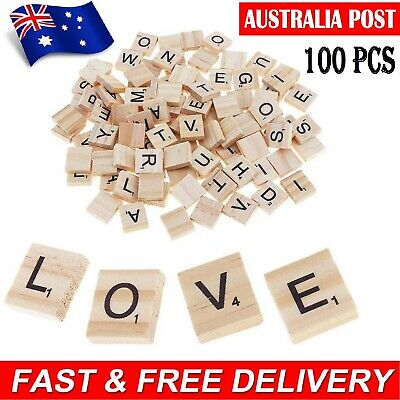 100pcs Wooden Alphabet For Scrabble Letters&Numbers Tiles Black Game&Crafts Wood