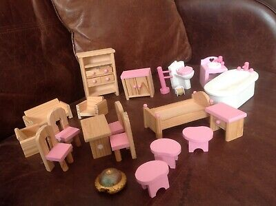 Job lot bundle Dolls house furniture pink & wooden bath, bed, table chairs, etc
