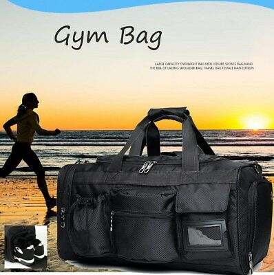 Large Gym Bag Sport Travel Pocket Shoe Waterproof Work out All Purpose Duffle FS