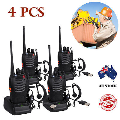 4X Baofeng 2-way Radio BF-888S UHF CTCSS/DCS 16CH Walkie Talkie USB Rechargeable