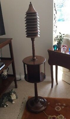 Rare & Unusual Arts & Crafts Mahogany & Copper Standard Lamp