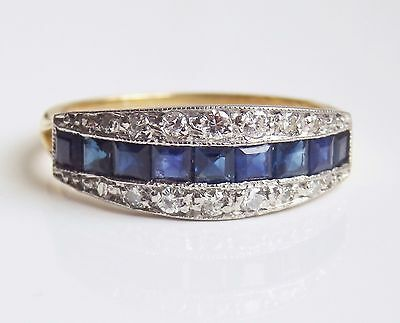 Fine Vintage French Art Deco 18ct Gold Sapphire & Diamond (0.25ct) Ring c1935