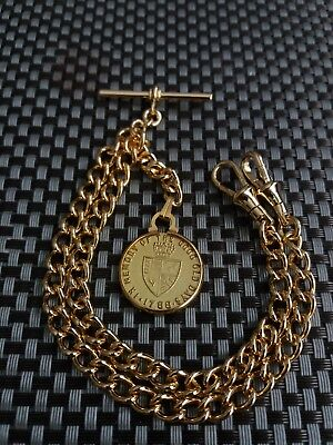 1788 Gaming Token Fob Gold Plate Double Albert Pocket Watch Chain