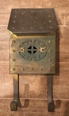 Antique Heavy Solid Brass Mailbox ~ Upright Wall Mount, Original Patina