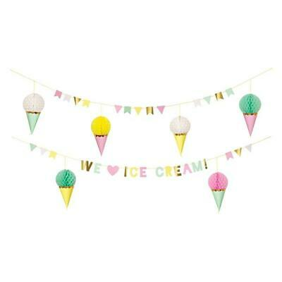 Meri Meri Ice Cream Birthday Garland Kit Celebration Party Accessory Event