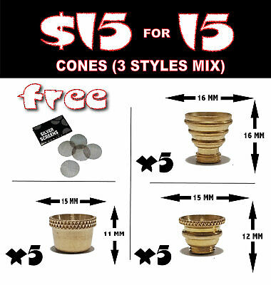 Bonza Cone Pieces X 15 Brass cones Piece - metal smoking pipe drops bong water p