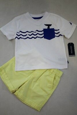 Nautica Toddler Boy's S/S V-Neck T-Shirt and Shorts Set Outfit size 24M New
