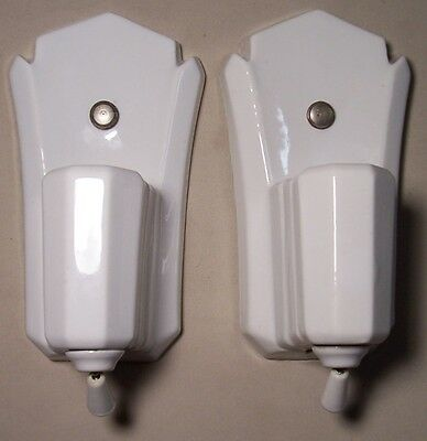 Vtg Porcelain Sconce Wall Fixture Light Bathroom Pair 2 Rewired USA #F94