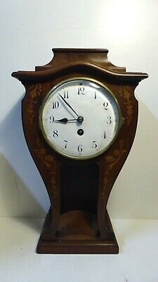 Antique Japy Freris  Mahogany Mantle Clock Inlaid French Enamel Face Art Nouveau