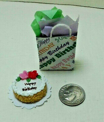 Dollhouse Miniature Happy Birthday Cake with Candles ~ Pink IM65205