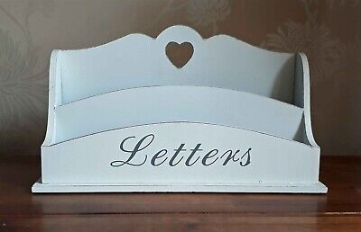 Letter Rack White Wood Heart Post Tidy Shabby Chic French Style 26cm New