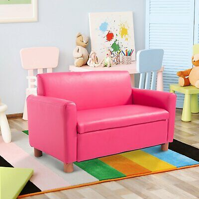 PU Leather Kids Sofa Storage Armchair Relax Toddler Couch Girls PINK Two Seater