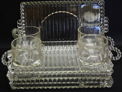 Snowflake Snack Set by Indiana Glass Company - Crystal - 4 cups and 4 trays