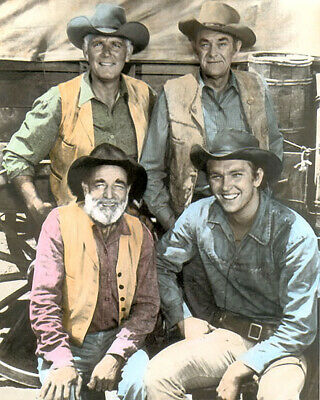 """CAST of WAGON TRAIN 1960s TELEVISION WESTERN  8x10"""" HAND COLOR TINTED PHOTOGRAPH"""