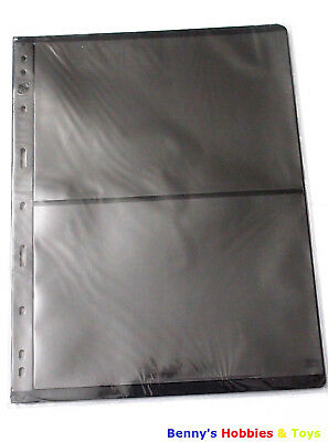 10 Sheet of Stamp Stock Pages (2 Strips) w 9 Binder Holes - Black & Double Sided
