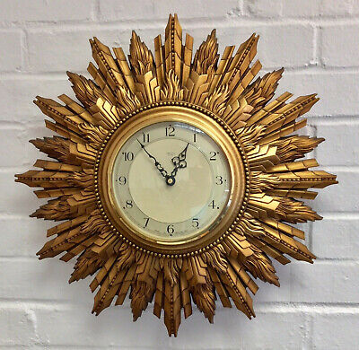 Vintage Art Deco 1930s Smiths Sunburst Sunray Gesso Gilt Wall Clock Battery FWO