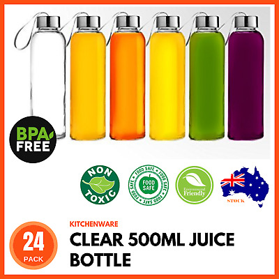 24 x LARGE 500ml Glass Water Sports Bottle with Lid for Juice Beverage Storage