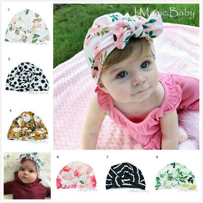 Baby Girl Flower Turban Bow Silky Soft Touch Stretchy Cotton Hat Beanie Infant