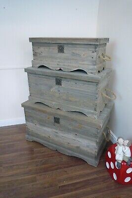 Set of 3 Blanket Boxes/Storage Trunks In A Weathered Oak Finish - Toy Boxes