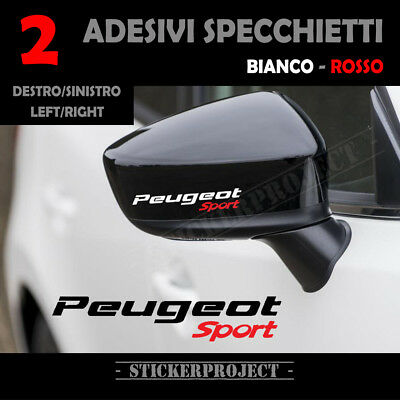 Stickers Peugeot Sport White/Red Mirror Mirror Stickers X2