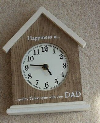 Wooden Mantel Clock & battery with message Ideal Father's Day gift Hardly used