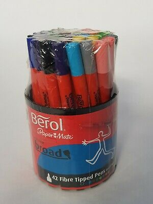 Berol by Paper Mate Assorted Colours Fibre Tip Pens Pack of 42