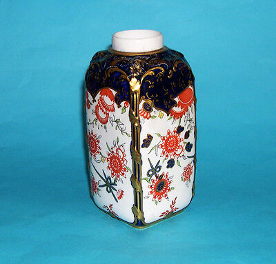 Royal Crown Derby Pottery : Attractive Square Open Top Bottle Vase 1891 - 1921.