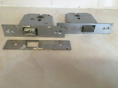 2 X Internal Vintage Door Latches, 1 Plate Unbranded Reclaimed Salvaged