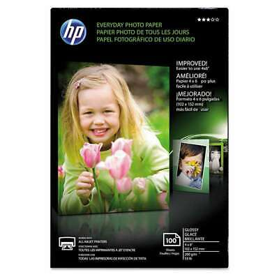 HP Everyday Glossy Photo Paper, 53 lbs., 4 x 6, 100 Sheets/Pack 886111974900