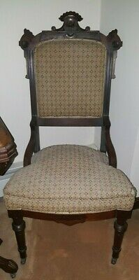 Vintage Pair (2) Antique Carved Victorian East Lake Walnut Side Chairs