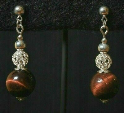10mm Red Tiger's Eye Stud Earrings -Genuine 925 Sterling Silver Filigree Accents