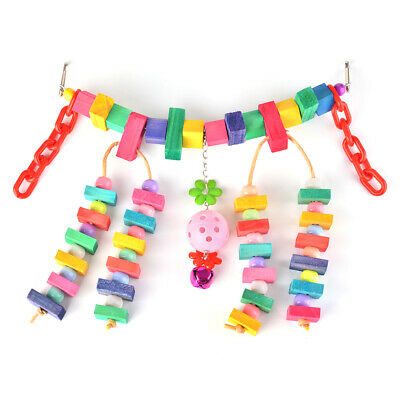 Chewing Hanging Toys Bird Swing Bridge, Pet Parrot Cage Toy Knots Block PS259