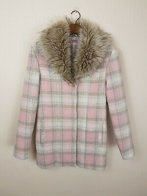 Girls Gorgeous Pink Cream Checked Wool Blend Coat Faux Fur Collar UK 13-14 Yrs
