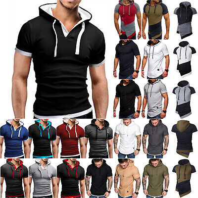 Fashion Men's Short Sleeve Hooded Hoodie Summer Casual T-Shirt Tops Muscle Tee