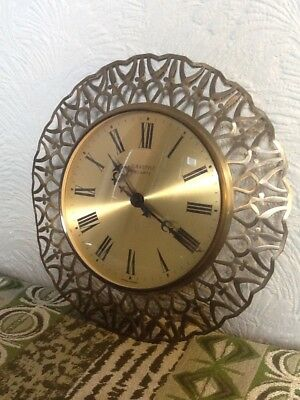 Fab Retro Mid Century West German Sunburst/Moonburst Wall Clock  #3742