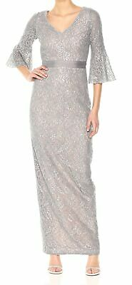 b8b989c01ee1 Calvin Klein NEW Silver Womens Size 6 Sequined Lace Bell Sleeve Gown $229  031