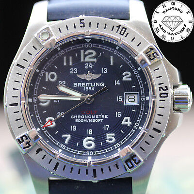 Breitling Colt 42 Blue Steel On Rubber A74380 Watch Excellent Condition