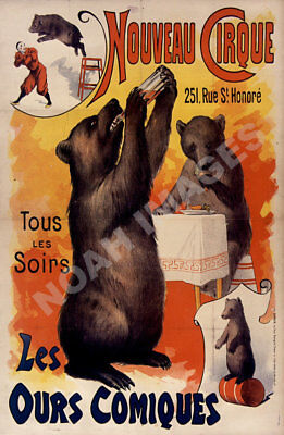 POSTER FREAK GEEK CIRCUS WALTZING DOGS DANCE PUPPY CRIB VINTAGE REPRO FREE S//H