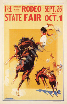 Rodeo State Fair Cowgirl vintage travel poster repro 16x24